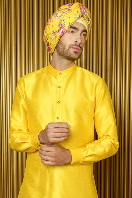 RAFI Summer Floral Turban - Side View - Harleen Kaur - Indian Menswear