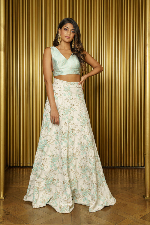 PAYAL Floral Vines Metallic Jacquard Lehenga Skirt - Front View - Harleen Kaur - Indian Womenswear