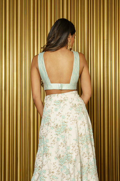 CHRISTINE Jacquard Crop Top - Back View - Harleen Kaur - Modern Indian Womenswear