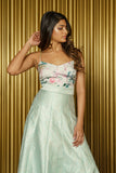 LUCY Pistachio Floral Satin Spaghetti Strap Top - Front View - Harleen Kaur - South Asian Womenswear