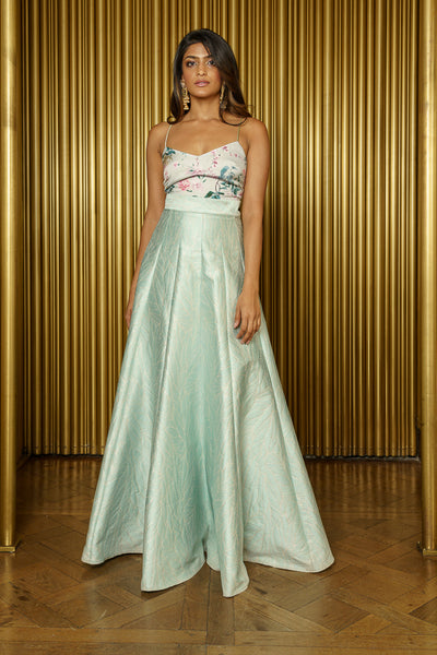 DEERA Wavy Jacquard Lehenga Skirt in Mint Metallic - Front View - Harleen Kaur - Luxury Indian Womenswear