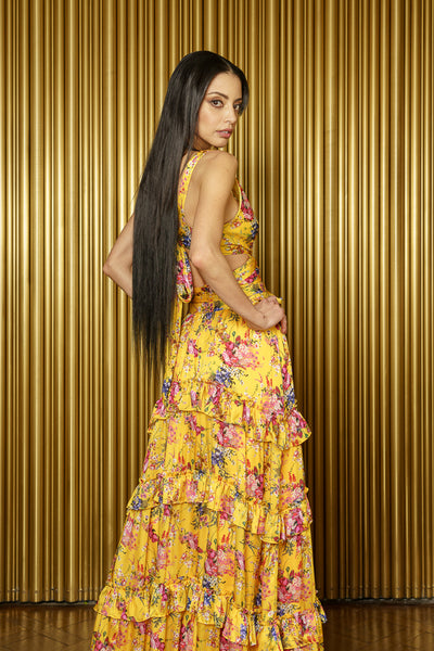 CAMILE Yellow Floral Tie Back Crop Top - Back View - Harleen Kaur - Ecoconscious Indian Womenswear