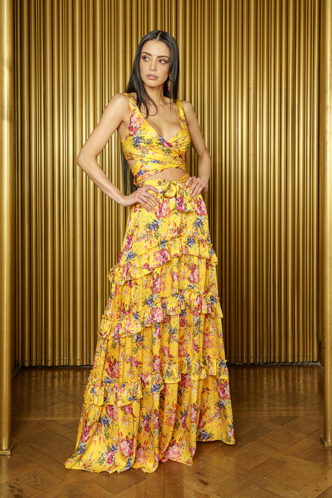 TAARA Yellow Floral Ruffle Lehenga Skirt - Front View - Harleen Kaur - South Asian Womenswear