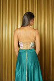 LUCY Floral Satin Lace Up Top - Back View - Harleen Kaur - Ethically Made Womenswear
