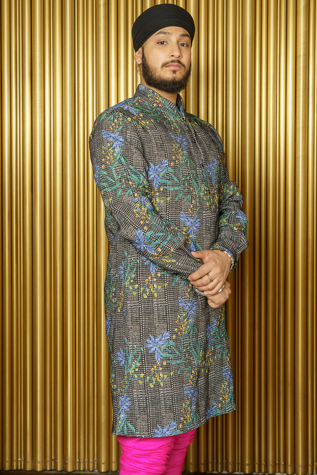 OMAR Blue Green Floral Plaid Kurta - Side View - Harleen Kaur - South Asian Menswear