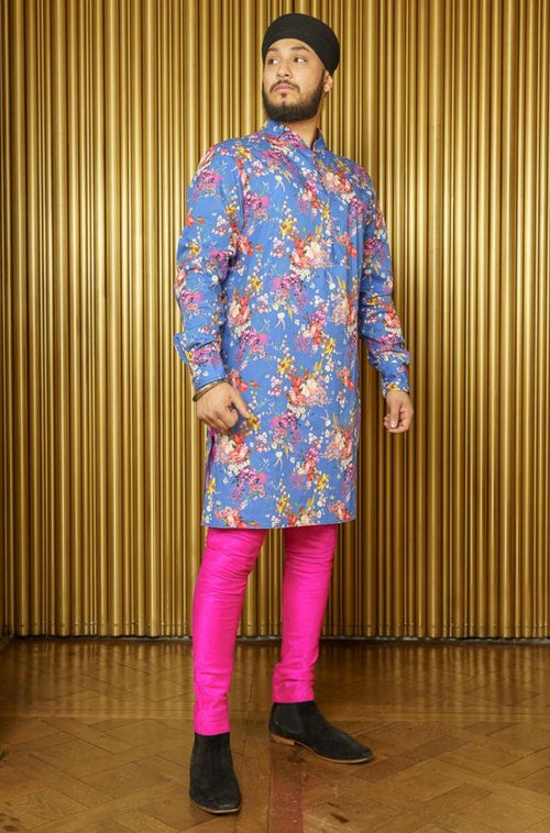 SUNNY Floral Kurta - Front View - Harleen Kaur - Indian Menswear