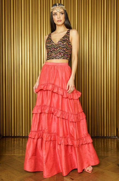 TAARA Silk Ruffle Lehenga Skirt in Papaya and NADIA Sequin Crop Top - Front View - Harleen Kaur Womenswear
