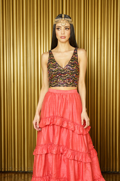 NADIA Wavy Sequin Lehenga Top
