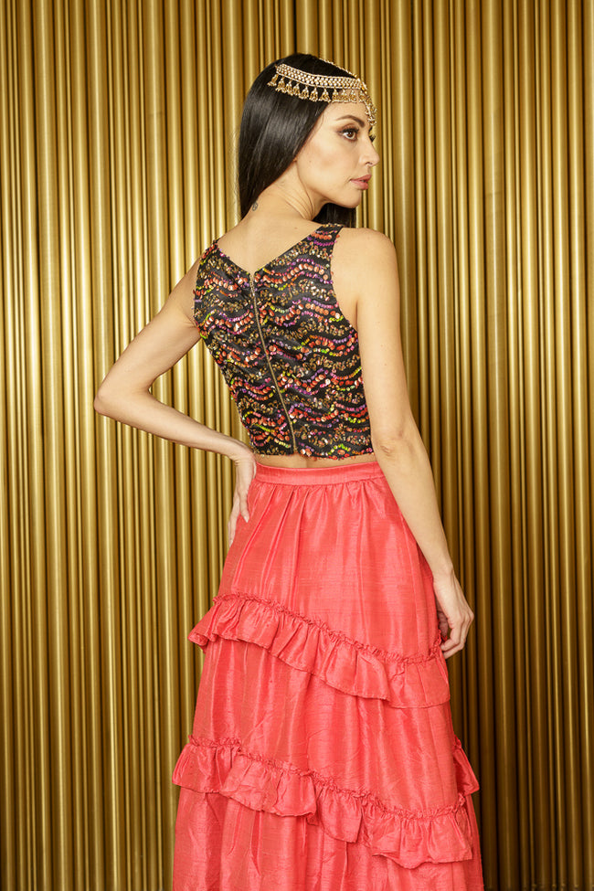 NADIA Wavy Sequin Lehenga Top Sleeveless - Back View - Harleen Kaur - South Asian Womenswear