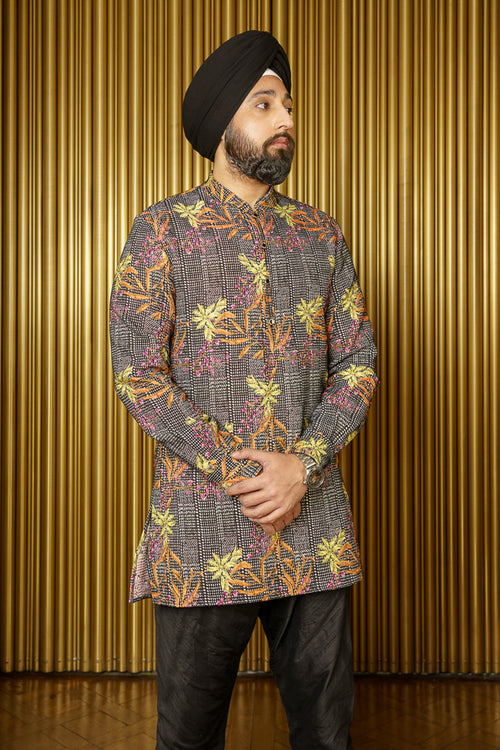 OMAR Floral Plaid Kurta - Front View - Harleen Kaur - Indian Menswear