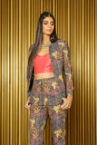 DARIA Floral Plaid Cropped Long Sleeve Blazer - Front View - Harleen Kaur - Modern Indian Womenswear