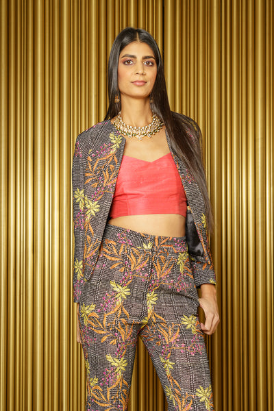 DARIA Floral Plaid Cropped Jacket - Front View - Harleen Kaur - South Asian Womenswear