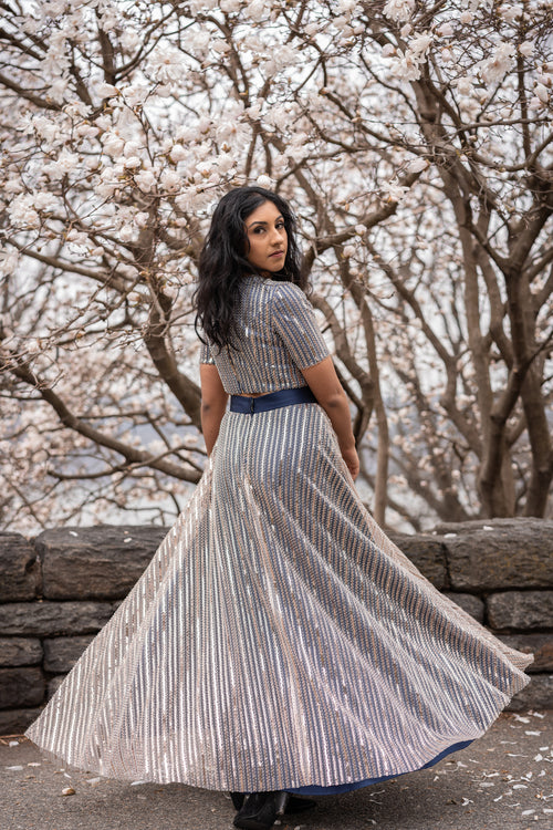 GILLY Striped Beaded Sequin Skirt - Back View - Harleen Kaur - Indian Womenswear