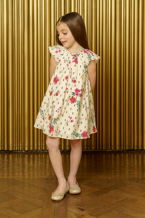 NIRVAIR Diamond Floral Kids Dress - Front View - Harleen Kaur - Indian Kidswear