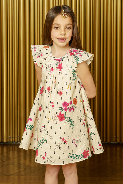 NIRVAIR Diamond Floral Cotton Kids Dress - Front View - Harleen Kaur - South Asian Childrenswear