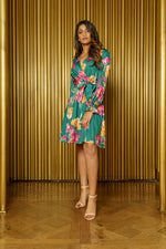 BRI Floral Wrap Dress in Green - Front View - Harleen Kaur - Ethically Made Womenswear