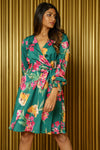 BRI Floral Wrap Dress in Green Multi with Belt - Front View - Harleen Kaur Indian Womenswear