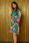 BRI Wrap Dress in Green Floral - Side View - Harleen Kaur - Modern Indian Womenswear