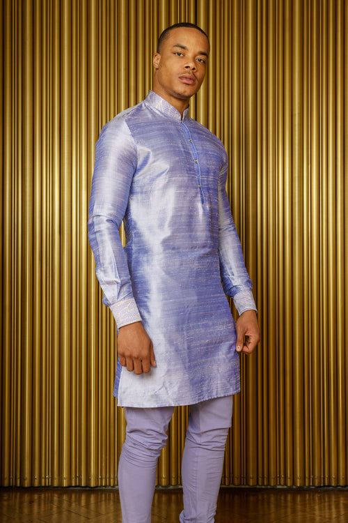 SUMAN Silk Kurta in Periwinkle - Front View - Harleen Kaur - Indian Menswear