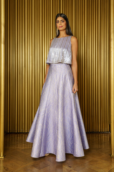DEERA Wavy Jacquard Lehenga Skirt in Periwinkle Metallic - Side View - Harleen Kaur - South Asian Womenswear