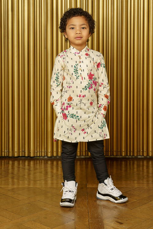 ANI Diamond Floral Kids Kurta - Front View - Harleen Kaur - Indian Kidswear