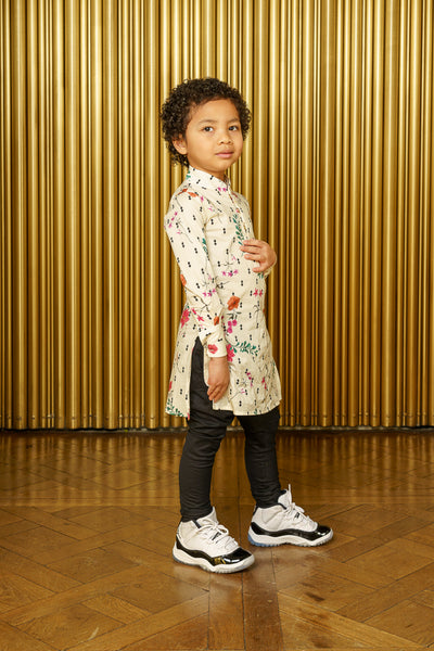 ANI Diamond Ivory Floral Kids Cotton Kurta - Side View - Harleen Kaur - South Asian Kidswear