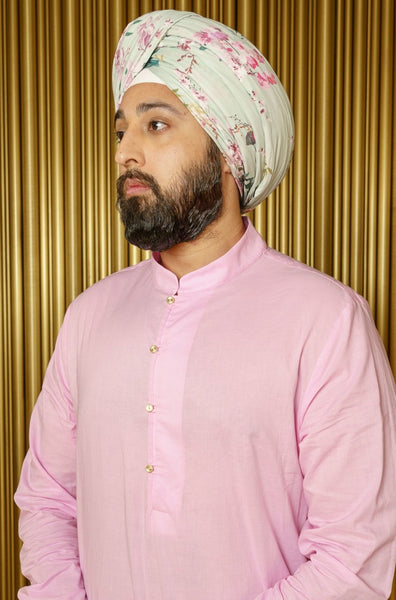 KAZ Floral Blossom Turban - Side View - Harleen Kaur - Indian Menswear