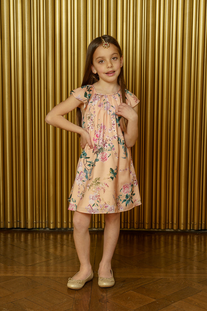 NIRVAIR Floral Blossom Kids Dress - Front View - Harleen Kaur - Indian Kidswear
