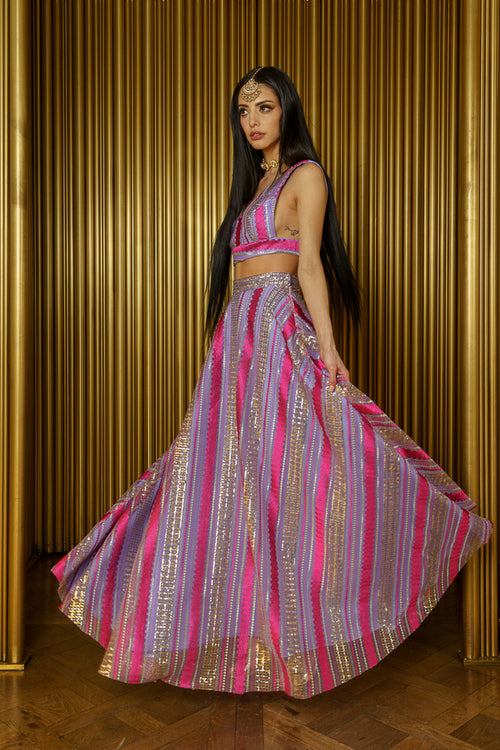 MAYRA Striped Sequin Lehenga Skirt - Side View - Harleen Kaur - Modern Indian Womenswear