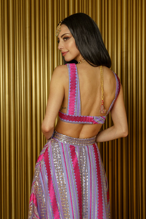 CHRISTINE Striped Sequin Sleeveless Crop Top with Open Back - Back View - Harleen Kaur Womenswear