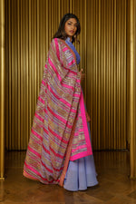 Periwinkle and Pink Striped Sequin Dupatta - Side View - Harleen Kaur - Luxury Indian Womenswear