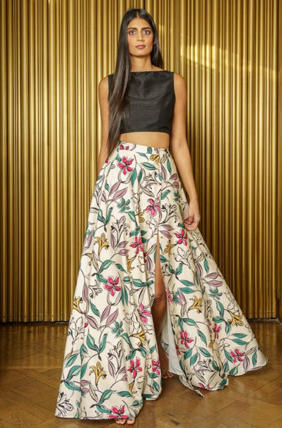 HELENA Adjustable Slit Lehenga Skirt - Front View - Harleen Kaur - Modern Indian Womenswear