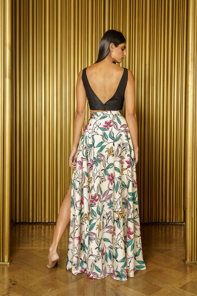 HELENA Adjustable Slit Maxi Skirt - Back View - Harleen Kaur - Indowestern Womenswear