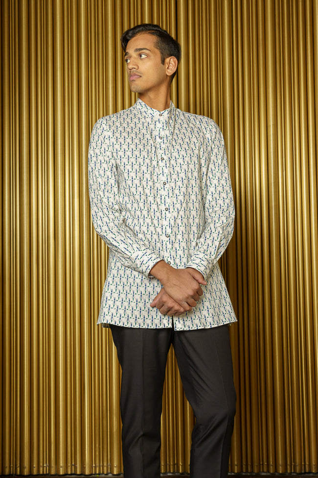 PAVAN Geometric Print Kurta Long Sleeve Button Down Shirt - Front View - Harleen Kaur - South Asian Menswear