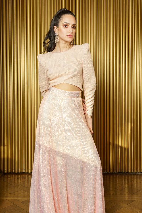 NAINA Pink Metallic Exaggerated Shoulder Crop Top - Front View - Harleen Kaur Modern Indian Womenswear