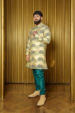 RICKY Gold Chevron Jacquard Kurta - Side View - Harleen Kaur - South Asian Menswear