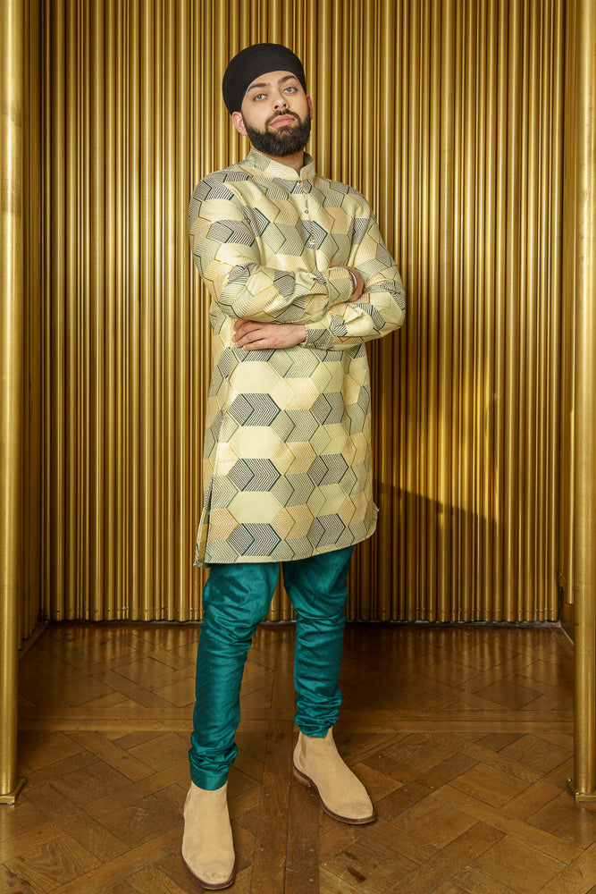 RICKY Gold Chevron Jacquard Kurta - Front View - Harleen Kaur - Indian Menswear