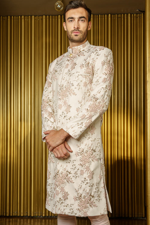 PARK Blush-Gold Floral Jacquard Sherwani Jacket - Harleen Kaur - Luxury Indian Menswear