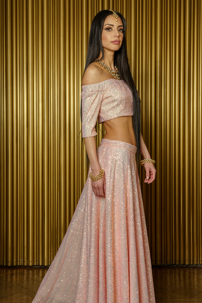 REEMA Iridescent Pink Sequin Strapless Crop Top - Side View - Harleen Kaur Modern Indian Womenswear