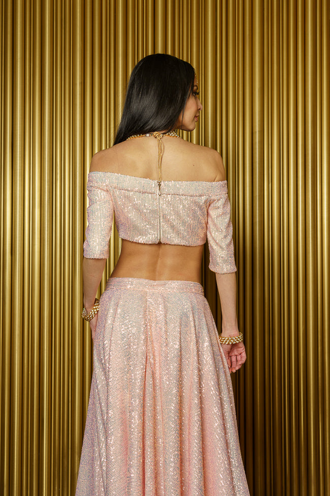 REEMA Iridescent Pink Sequin Strapless Crop Top - Back View - Harleen Kaur Modern Indian Womenswear