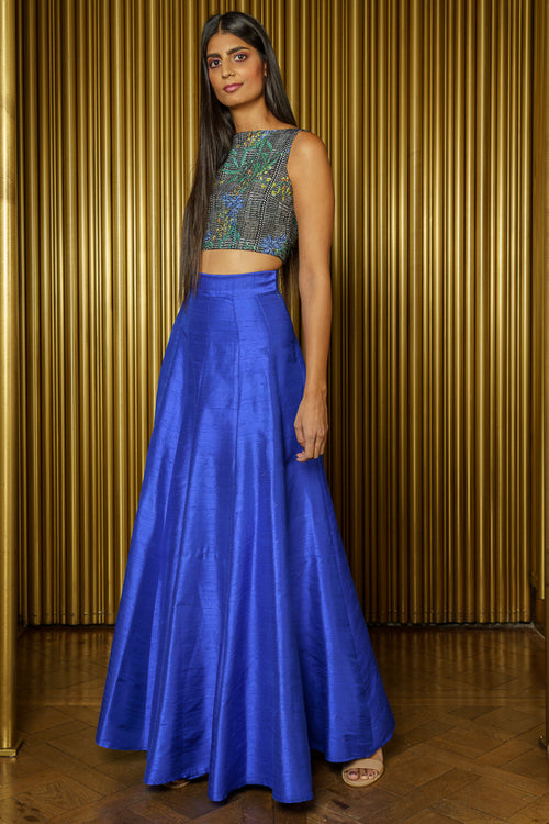 DIVYA Silk Skirt in Cobalt - Side View - Harleen Kaur - Modern Indian Womenswear