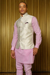 NIK Wavy White Metallic Jacquard Bandi Vest - Front View - Harleen Kaur - Ethically Made Menswear