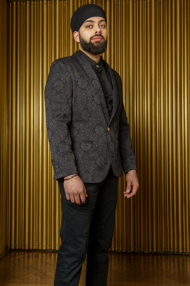 AMANDEEP Black Jacquard Blazer Jacket - Side View - Harleen Kaur Indian Menswear