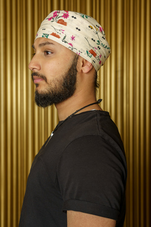 HAAR Pattern Floral Turban - Side View - Harleen Kaur - Indian Menswear