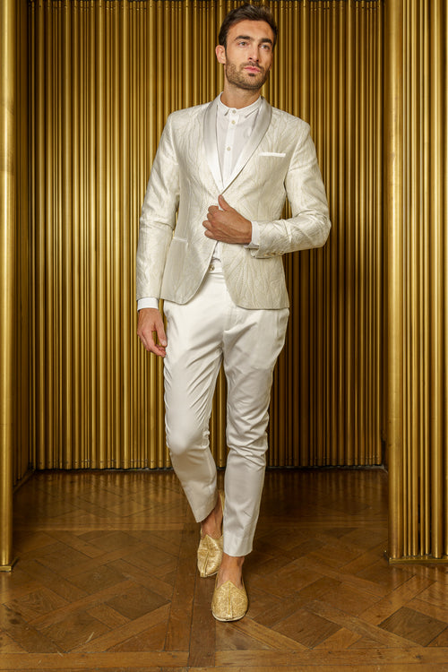 AMANDEEP White Jacquard Tuxedo Jacket - Front View - Harleen Kaur - Luxury Menswear