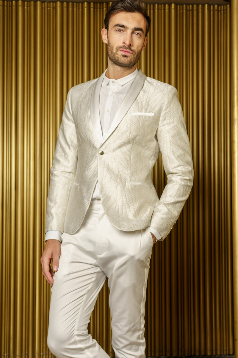 AMANDEEP White Wavy Jacquard Tuxedo Jacket - Front View - Harleen Kaur -  Indian Menswear