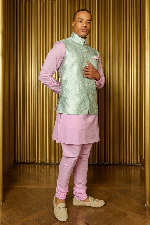 NIK Wavy Jacquard Bandi Vest with Mandarin Collar - Side View - Harleen Kaur Indian Menswear