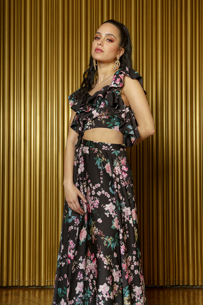 KAIA Black Floral Print Ruffle Crop Top - Side View - Harleen Kaur Indian Womenswear