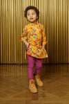 ARIAN Saffron Floral Kids Kurta - Front View - Harleen Kaur - South Asian Childrenswear