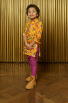 ARIAN Saffron Floral Cotton Kids Kurta - Side View - Harleen Kaur - Indian Kidswear